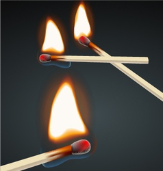 Flaming match set vector image