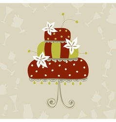 Greeting card with wedding cake vector image vector image
