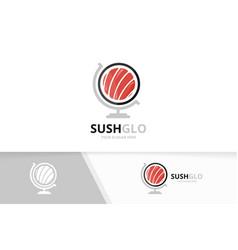 sushi and globe logo combination japanese vector image vector image