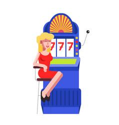woman at slot machine jackpot casino vector image