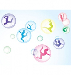 bubbles with girls vector image vector image