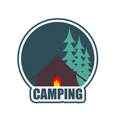 camping logo tent camp emblem forest and tent vector image