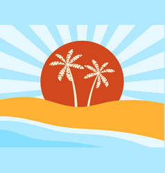 coast beach with palm trees sunrise vector image vector image