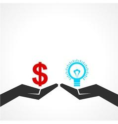 Compare money and idea concept vector