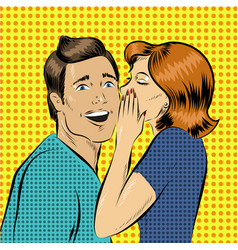 in pop art style woman whisper vector image
