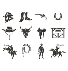 Set rodeo icons vector image