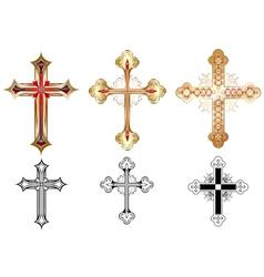 Three gold cross vector