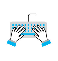 user with computer keyboard isolated icon vector image vector image