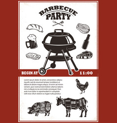 vintage bbq party poster template grill steak vector image vector image