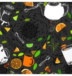 Hand drawn seamless tea pattern vector image vector image