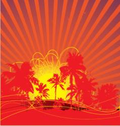 tropical rising sun vector image vector image
