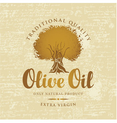 Banner with olive tree and olive oil labeled vector