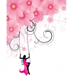 flowers cosmos swing vector image vector image