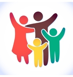 Happy family icon multicolored in simple figures vector image vector image