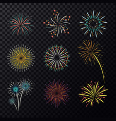 pyrotechnic explosion or fireworks for celebration vector image