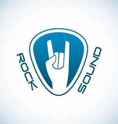 Rock hand logo template with plectrum shape vector image vector image