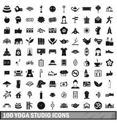 100 yoga studio icons set simple style vector