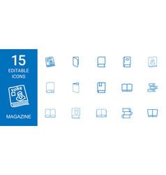 15 magazine icons vector image