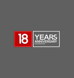 18 years anniversary in square with white and red vector