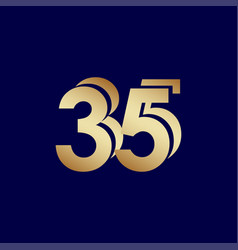 35 years anniversary celebration blue gold vector