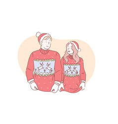 a young loving couple in christmas sweaters vector image
