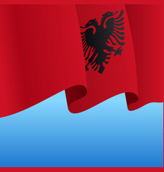 Albanian flag wavy abstract background vector