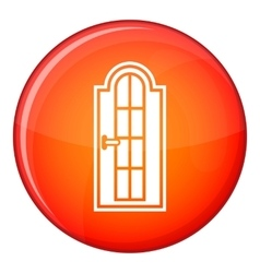 Arched wooden door with glass icon flat style vector