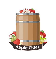 autumn apple cider barrel vineyard greeting card vector image