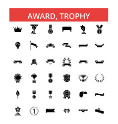 award trophy thin line icons vector image