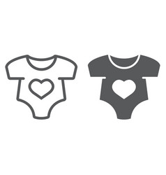 Baby romper line and glyph icon vector