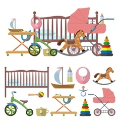 Baby room interior and set of toys for kids vector image