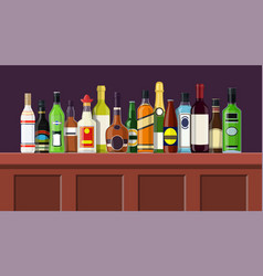 bar counter with alcohol drink vector image