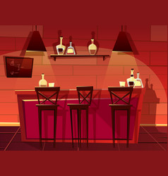 Bar pub counter interior cartoon vector