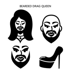 Bearded drag queen icons set drag show dr vector