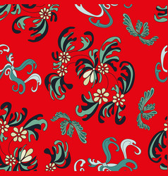 beautiful flowers on a red background seamless vector image