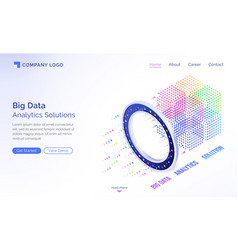 big data analytics solutions isometric landing vector image