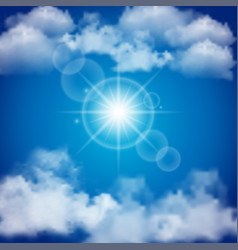 blue sky with realistic clouds and sun flares vector image