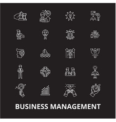 business management editable line icons set vector image