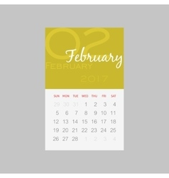 Calendar 2017 months February Week starts Sunday vector