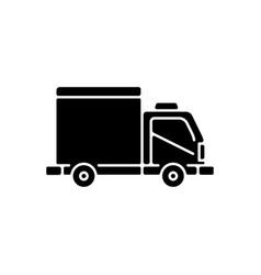 Cargo taxi black glyph icon vector