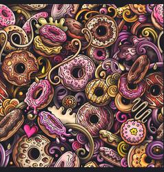 Cartoon cute doodles hand drawn donuts seamless vector