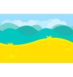 Cartoon landscape green meadows fields hills vector