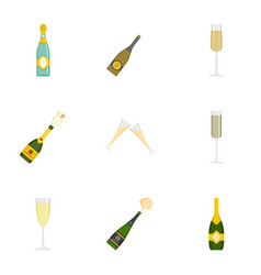 champagne icons set cartoon style vector image