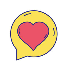 Chat bubble with heart inside to love message vector