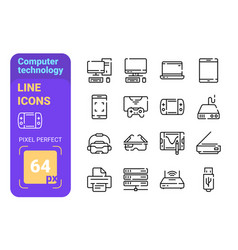 computer technology line icons set vector image