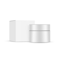 cosmetic jar and square box mockup isolated vector image