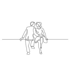 couple woman and man sitting continuous line vector image