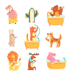 Cute animals bathing and washing in water set for vector