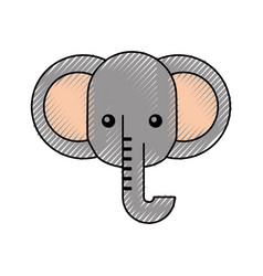 cute cartoon elephant animal wildlife vector image