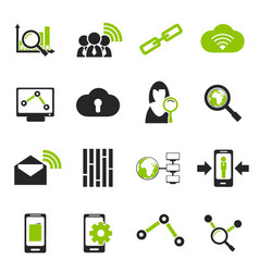 Data analytic and social network icons vector